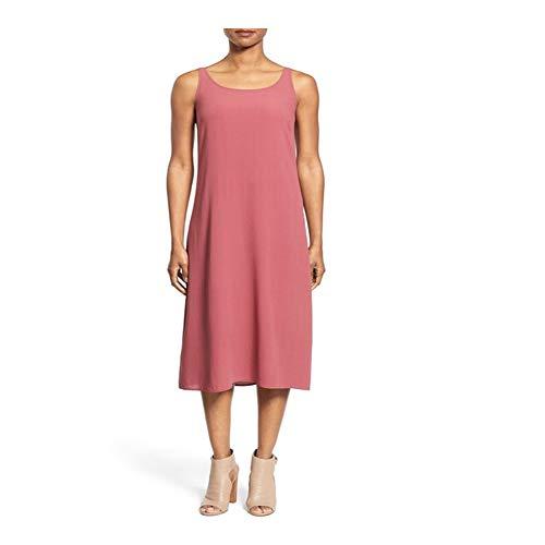 Eileen Fisher Rosewood Silk Georgette Crepe Scoop Neck Tank C/L Dress S