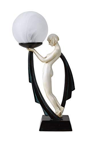 Figürliche Lampe mit Kugelschirm Tänzerin Art Deco Stil IS040 Palazzo Exklusiv