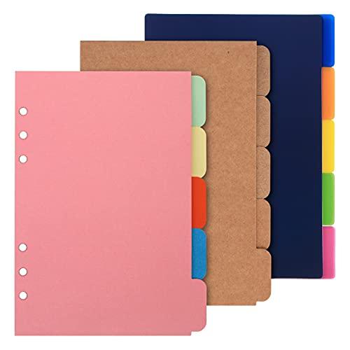 Papel para cuaderno, papel kraft de hojas sueltas, papel de relleno con 6 agujeros perforados coloridos,Separadores de etiquetas clasificadas de índice A5 para cuadernos de revistas recargables