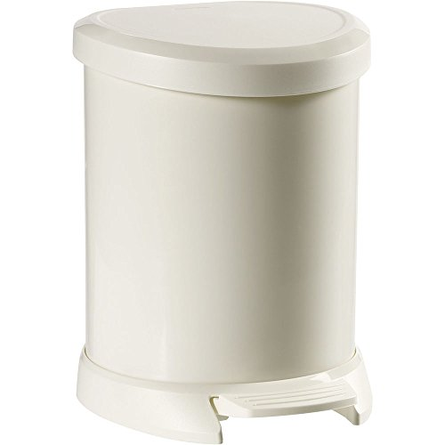 Curver Pedal bin Deco 5L in White, 24.6 x 21 x 27.7 cm