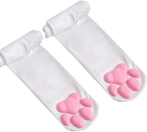 Katzenfleisch Kissen Cos Kniestrümpfe Katze Strümpfe Pfoten Socken Lolita Overknee Socken, Oberschenkel Hohe Socken, Süße Katze Pfoten Pad Socke für Frauen Kätzchen Strumpf (Weiß)