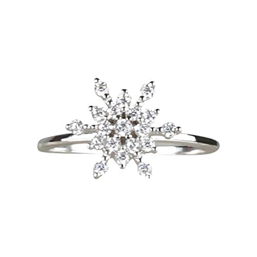 Buy Ladies Creative Snowflake Diamond Ring, Mlide Engagement Ring Shiny Cz Ring Valentine's Day Anni...