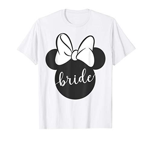 Disney Minnie Mouse Head Silhouette Bow Bride Cursive Text Camiseta
