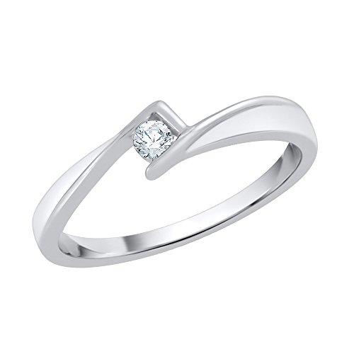 Katarina - Anillo de compromiso solitario de diamante en plata de ley (1/20 quilates, J-K, SI2-I1) (talla 8)