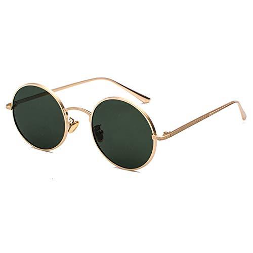 Inlefen Sonnenbrille Männer Frauen Runde Retro Vintage Kreis Stil Sonnenbrille Farbige Metallrahmen Brillen Gold Dunkelgrün