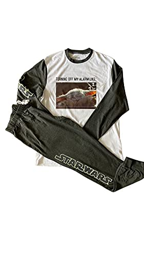 Star Wars The Mandalorian Baby Yoda - Pijama para hombre, manga larga y pantalones para apagar mi alarma (grande, l) negro/blanco