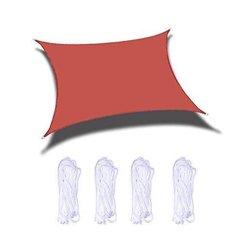 Tela Toldo, Rectángulo O Jardín Cuadrado Sun Shade Spade Canopy A Prueba De Agua 98% Bloque UV con Anillos D De Aluminio, Rojo(Size:2X5m/6.6X16.4ft)
