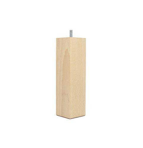 La Fabrique de Pieds AM20170064 Jeu de 4 Pieds de Lit Carres Bois Verni Clair 10 x 5,5 x 5,5 cm