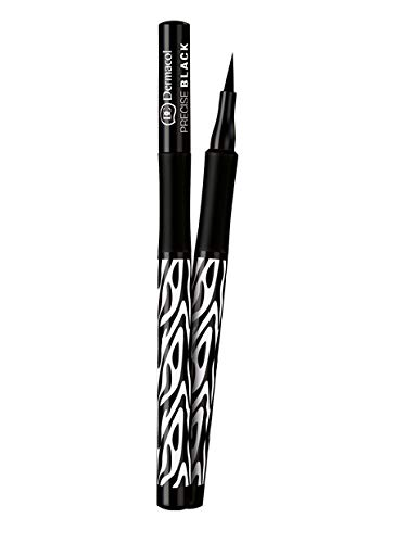 Dermacol Precise Black Eyeliner - Waterproof Long-Lasting Liquid Marker - Super Thin Tip for Quick Winged Look - Deep Colour, No Smudging - Formula Perfect For Sensitive Eyes and Contact Lens Users