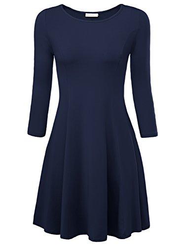 BAISHENGGT Damen Skaterkleid Rundhals 3/4-Arm Fattern Stretch Basic Kleider Blau S