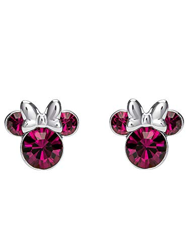 Disney Women#039s Jewelry Minnie Mouse Silver Plated Brass February Birthstone Stud Earrings
