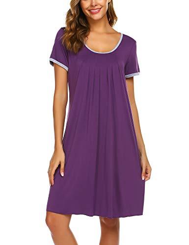 Ekouaer Plus Size Nightgowns Women Summer Short Sleeve Sleepwear Plain Dress Purple XXL