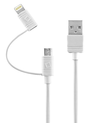 Cellet Micro USB + Lightning Fast Charging Data Cable (Apple MFI Certified) Compatible for Apple iPhone Xs/Max/Xr/X/SE/8/7/6/5 iPad/Pro/Air/Mini4/iPod/Touch and Samsung Galaxy S7/6/5, Note 5 -White