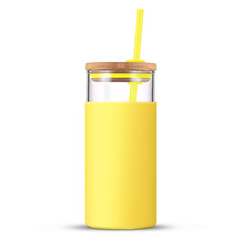 tronco 20oz Glass Tumbler Straw Silicone Protective Sleeve Bamboo Lid - BPA Free, for Moms (Spring Yellow)