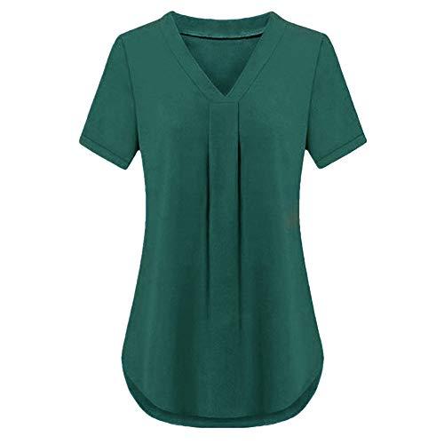 PRJN Camiseta de Manga Corta para Mujer con Cuello en V Camiseta básica de Verano Tops para Mujer Camisas Sueltas Informales sólidas Tops para Mujer Camisetas de Gasa Blusas Informales