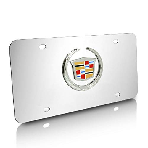 3D Cadillac Logo Stainless Steel License Plate, Luxury Silver Chrome Car Tag with Screw Caps Fit for Cadillac All Models