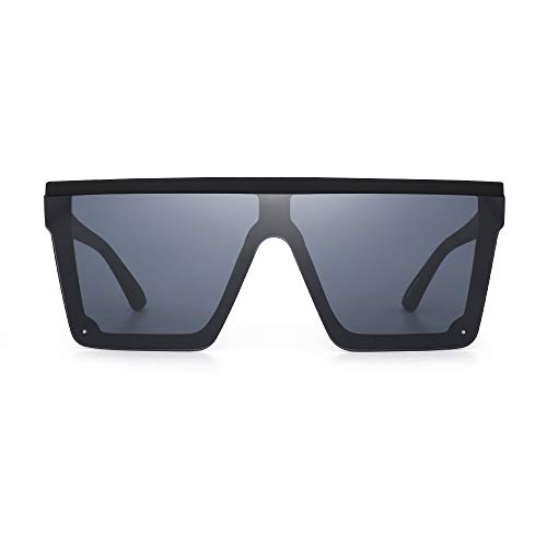 JIM HALO Gafas de sol Escudo Superior Plano Gafas Cuadradas sin Montura de Espejo para Mujeres Hombres