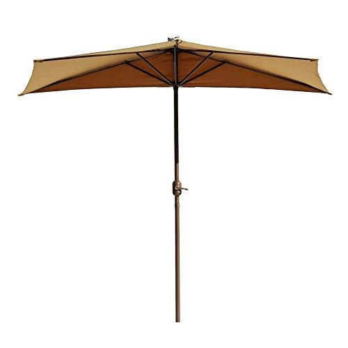 Gartenschirme Sonnenschirm Khaki Halbwandschirm für Gartenpatio Balkon Kleine Terrasse, Halbrunder runder Regenschirm mit Kurbel, 2,7 m (9ft)