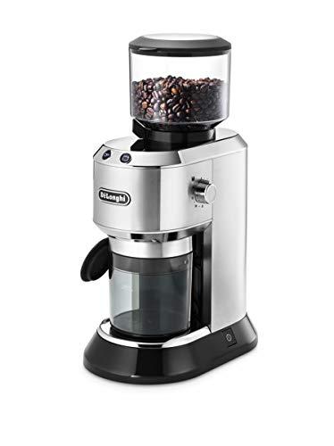 De'Longhi Dedica KG 520.M Elektrische Kaffeemühle, Vollmetallgehäuse, edelstahl Kegelmahlwerk, einstellbare Mahlgradeinstellung, silber
