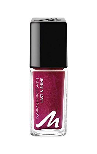 Manhattan Last & Shine Nagellack – Roter, glänzender Nail Polish für 10 Tage perfekten Halt – Farbe Berry Much 670 – 1 x 10ml