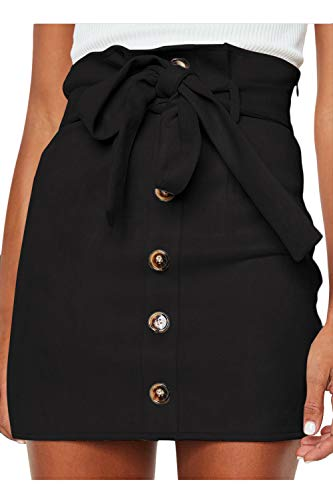 Meyeeka Womens Plain A-Line Mini Skirt Faux Suedette Button Paperbag High Waist Clubwear XL Black