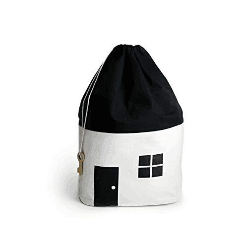 ZXXFR Opvouwbare wasmand, huisvorm, grote babytas, canvas, huisvorm, ophanging met trekkoord, tasje, huishoudtas, organizer