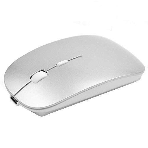 Rechargeable Bluetooth Mouse for Mac Laptop Wireless Bluetooth Mouse for Windows Notebook Silver