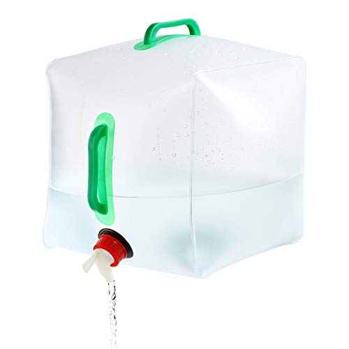 Chchmu Collapsible Water Container Foldable Water Storage Bag with Spigot, 20 L Foldable Water Canteens for Camping Hiking
