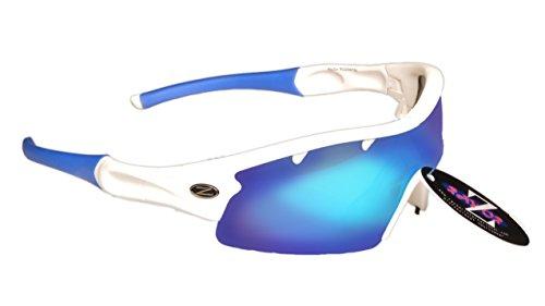Rayzor Professionele lichtgewicht UV400 wit Sports Wrap Zonnebrillen, met 1 stuk ontluchtde blauwe Iridium Mirrored anti-glare-lens.