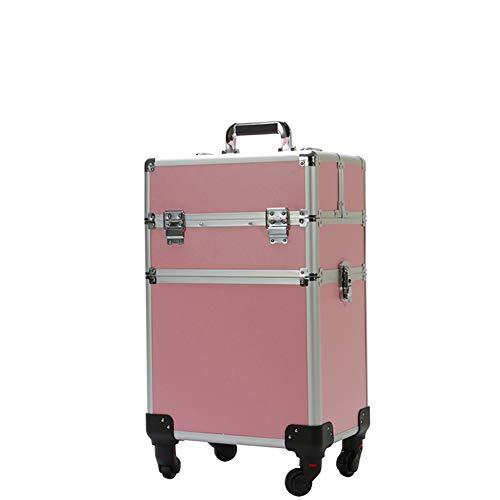 HUATINGRHBO Trousse de Maquillage Professionnel de beauté pour Maquillage Maquillage boîte à cosmétiques Sac de Coiffure pour Ongles (Longueur 35 cm * Largeur 26 cm * Hauteur 51 cm), Pink