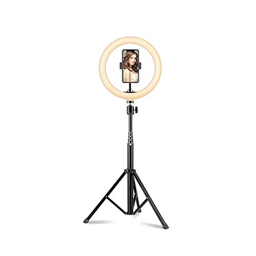 Ring Light 10 Inch LED Ring Light With Tripod Stand And Phone Holder Compatible With IPhone & Android Selfie Dimmable Beauty Ringlight For YouTube Video/Live Stream/Makeup/Photography/Girl Makes Up