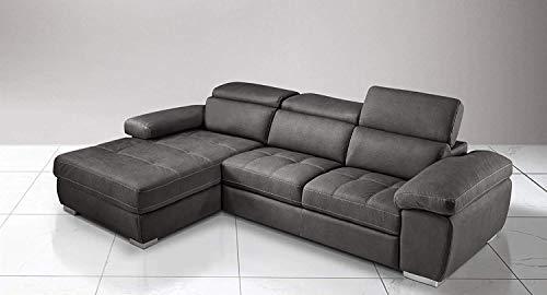 Dafnedesign.Com - Sofá cama esquinero de 3 plazas con chaise longue a la izquierda Piel sintética efecto Nabuk negra (cm. 265 x 182 x 97 cm.