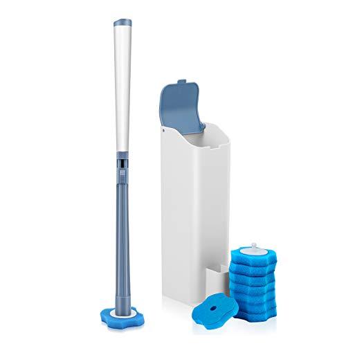LEPO Cepillo Limpiador de Inodoro Desechable con Soporte y 16 Recambios para Limpiar el Inodoro