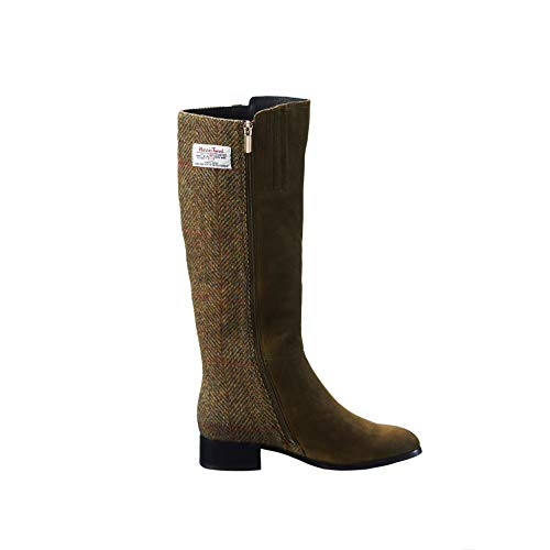 Ladies Harris Tweed Flat Ankle Boot by Snow Paw Chestnut
