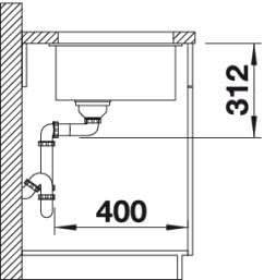 700 x 400 mm, 73 cm, 46 cm, 19 cm Fregadero BLANCO SUBLINE 700-U