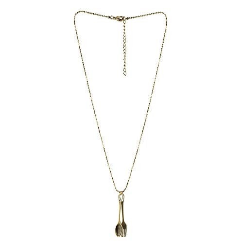 JOE COOL Necklace with A Pendant Fork & Spoon Chain Made with Tin Alloy