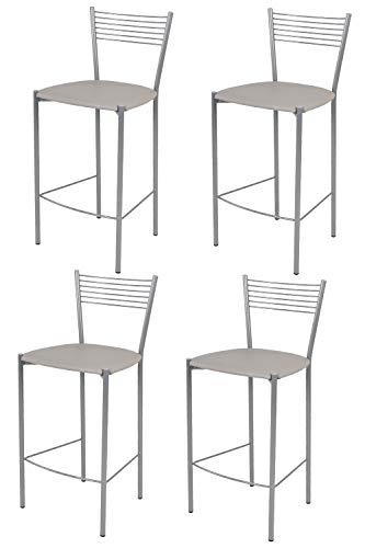 t m c s Tommychairs - Set 4 sgabelli Alti Modello Elegance per Cucina e Bar, Struttura in Acciaio Verniciata Colore Alluminio e Seduta Imbottita e Rivestita in Pelle Artificiale Colore Grigio Chiaro
