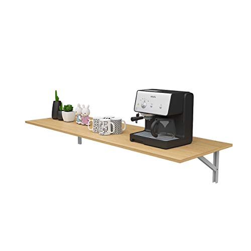 DlandHome Mesa de Pared Plegable 120 x 50CM Mesa de Cocina Plegable de Madera, Banco de Trabajo Plegable Complemento Garaje y cobertizo/Oficina/Sala de lavandería/Bar en casa/Comedor,Teca & Blanco