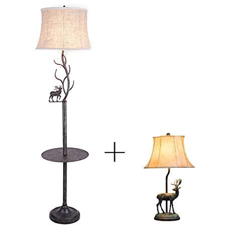 Lámparas de piso Luz de piso Americana Lámpara de la sala de estar con la mesa Lámpara de pie Lámpara de pie vertical dormitorio IKEA Lámpara Mesa Lámpara de pie Lámpara de pie moderna