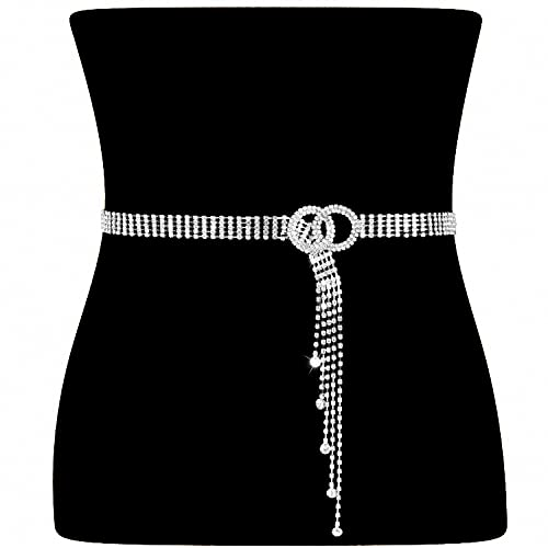 Women Rhinestone Belt Silver Shiny Diamond Fashion Crystal Ladies Double O-Ring Waist Belt for Jeans Dresses Fit Waist Size 35-41 Inches by WHIPPY