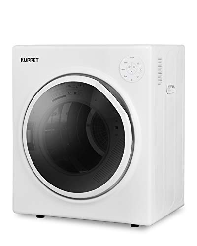 KUPPET 1300W Compact Laundry Dryer, 11lbs Portable Dryer with Stainless Steel Tub, Control Panel Upside Easy Control for 4 Automatic Drying Mode, Portable Clothes Dryer for Apartments and Home, White