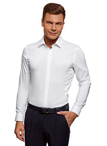 oodji Ultra Uomo Camicia Basic con Maniche Lunghe, Bianco, 43cm / IT 52 / EU 43 / L