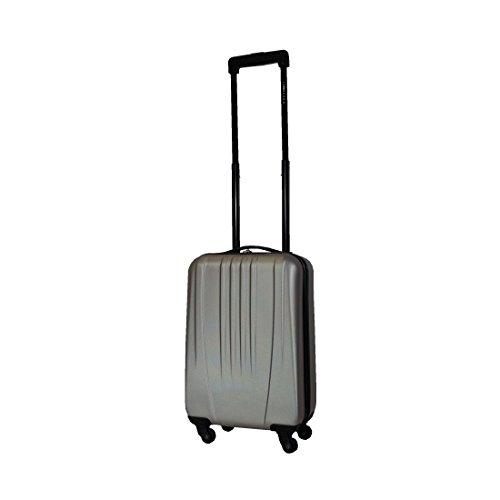 Leonardo Koffer Silber 31,5L Reisekoffer Handgepäck Trolley Koffer Hartschale Boardcase
