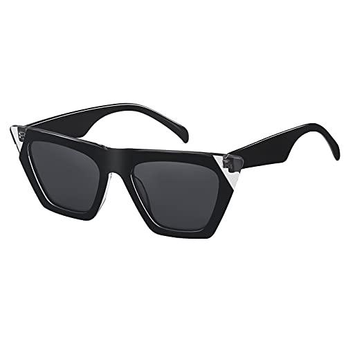 SHEEN KELLY Gafas de sol polarizadas Cateye hechas a mano de acetato Hombres Mujeres Gafas de moda cuadradas de gran tamaño Vintage