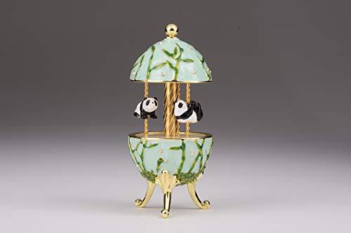 Keren Kopal Panda Bear Musical Carousel Wind up Music Box Faberge Style Collectors E1943