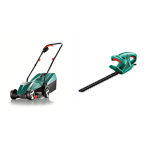 Bosch Rotak 32R Electric Rotary Lawnmower with 32 cm Cutting Width & Bosch AHS 45-16 Electric Hedge Cutter, 450 mm Blade Length, 16 mm Tooth Opening