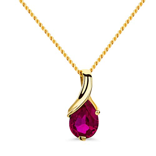 Orovi Schmuck Damen Halskette Gelbgold mit Tropfen Anhänger Edelstein/Geburtsstein roter Rubin Kette aus 14 Karat (585) Gold