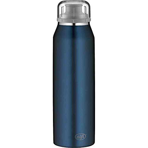 alfi Trinkflasche 500ml, isoBottle, Thermosflasche, Edelstahl blau Isolierflasche auslaufsicher, Wasserflasche 5677.208.050, Thermoskanne 12 Stunden heiß, 24 Stunden kalt