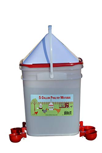 RentACoop 5 Gallon/ 4 Automatic Chicken Nipple Water Cup Chicken Waterer - Center Placement