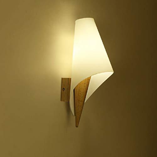 Lámpara de pared LED de madera maciza japonesa, sencilla y moderna, para salón, pasillo, balcón, altura: 30 cm, E27